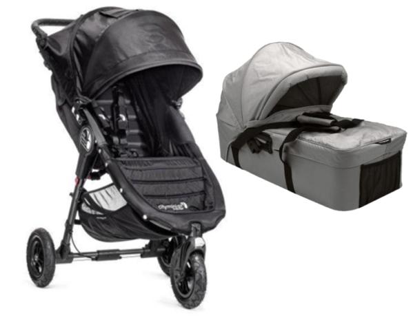 Baby Jogger City Mini GT Black plus Grey Compact Bassinet Bundle