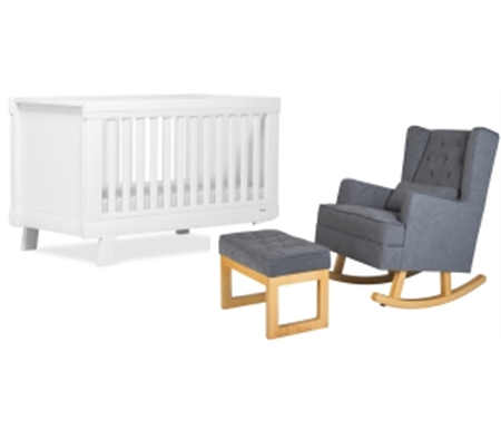 Boori Urbane Lucia Cot Bed Plus Seed Bebe Noah Rocker with Ottoman - White