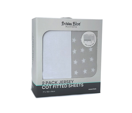 Bubba Blue Essentials Cot Fitted Sheets White & Grey Star 2pk