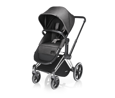 Cybex Priam Chrome Frame with Manhattan Grey 2 in 1 Seat - Bassinet fabrics included