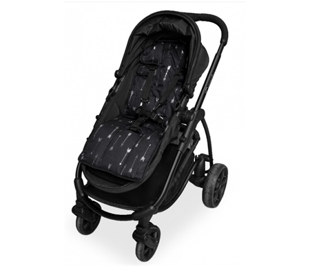 Outlook Reversible Cotton Pram Liner Black with Silver Arrows