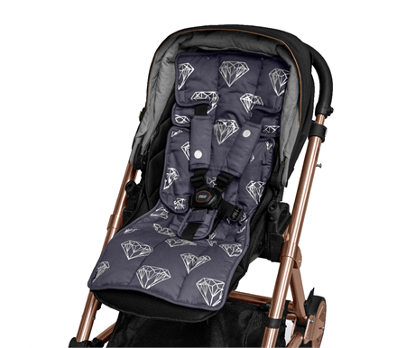 Outlook Reversible Cotton Pram Liner Charcoal with Rose Diamonds
