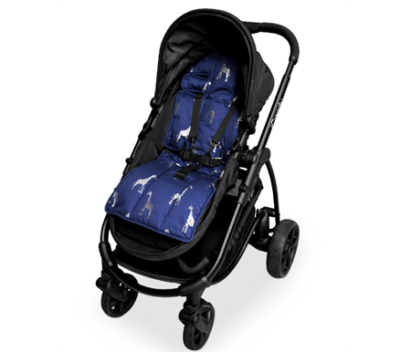 Outlook Reversible Cotton Pram Liner Navy with Silver Giraffe