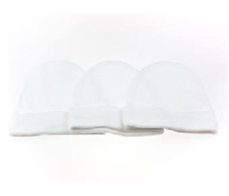 Playette 3 Pack Fashion Caps 0-6 months White