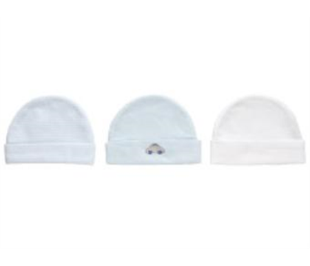 Playette 3 Pack Knitted Caps 0-6 months Blue/White